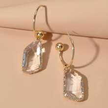 Transparente Ohrringe mit geometrischem Anhaenger