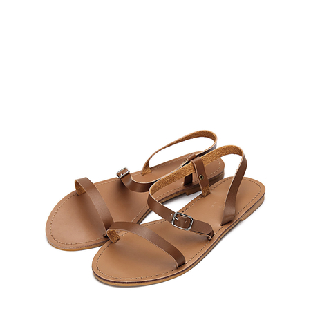 Yoins Brown Pin Buckle Strap Open Toe Simple Slip-on Style Sandals