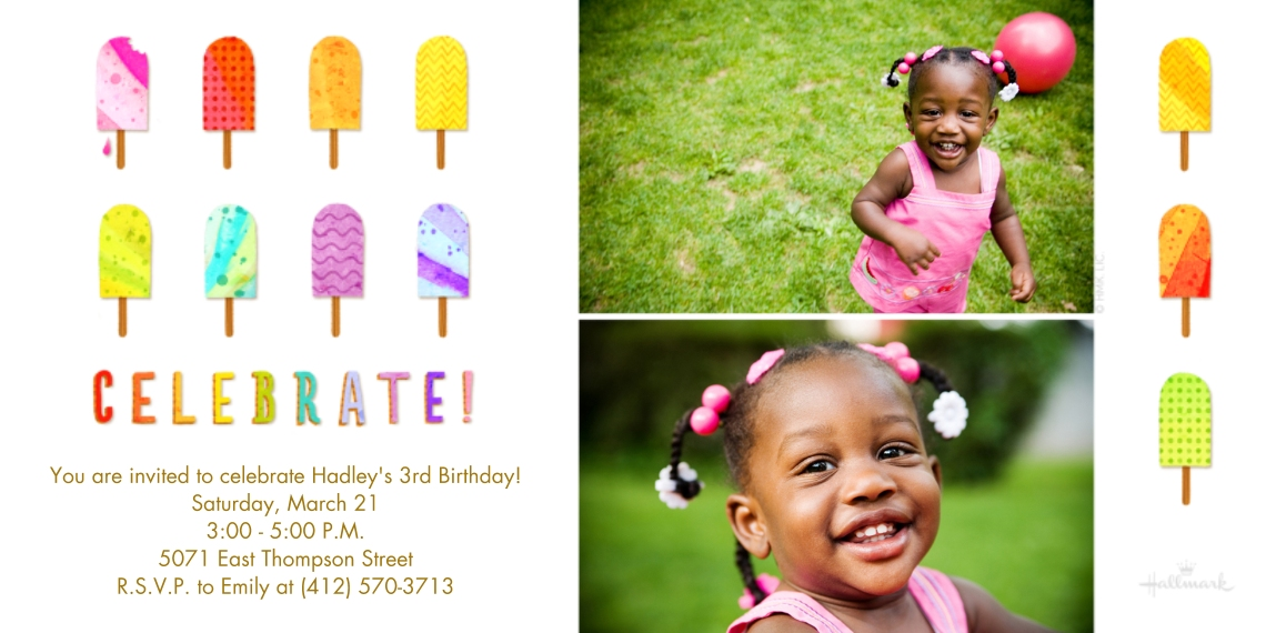 Kids Birthday Party Invites 4x8 Flat Card Set, 85lb, Card & Stationery -Celebrate Popsicles