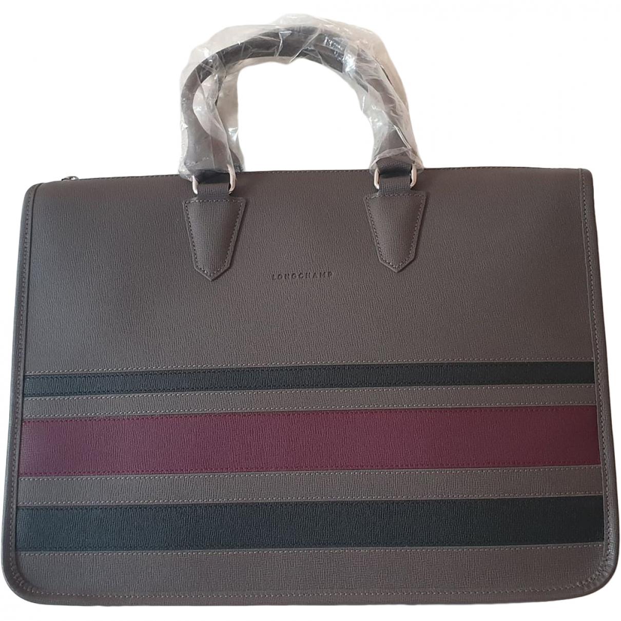Longchamp - Sac a main   pour femme en cuir - anthracite
