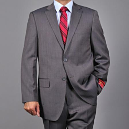 Mens Grey 2button Wool Suit