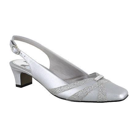 Easy Street Womens Pilar Square Toe Block Heel Pumps, 10 Wide, Silver