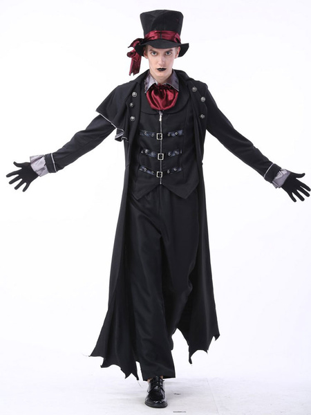 Milanoo Vampire Costume Halloween Black Men Magician Witch Costumes Outfit