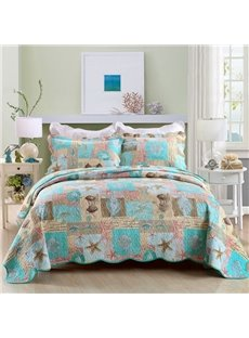 Starfish and Shell Print Coastal Style Cotton 3-Piece Bed in a Bag
