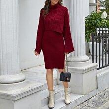 Strick Pulloverkleid & Poncho mit gerolltem Kragen