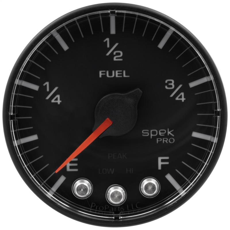 AutoMeter GAUGE; FUEL LEVEL; 2 1/16in.; 0-270O PROGRAMMABLE; BLK/BLK; SPEK-PRO