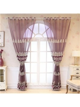 Luxury Embroidered Breathable Custom Purple Living Room Bedroom Sheer Curtains No Pilling No Fading No off-lining