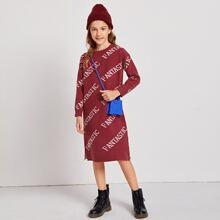 Vestidos jerseys de niñas Particion Letras Casual