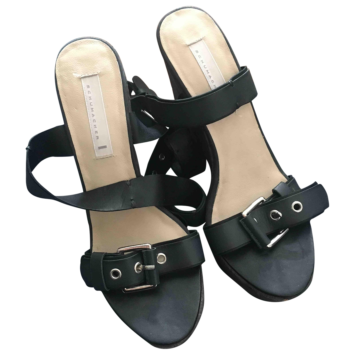 Schumacher \N Anthracite Leather Sandals for Women 37 EU