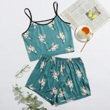 Crane Print Contrast Binding Pajama Set
