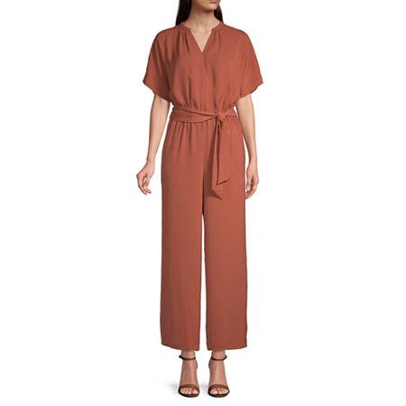 Worthington Short Sleeve Jumpsuit, Medium , Brown