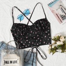 Plus Lace Up Back Ruched Bust Ditsy Floral Cami Top