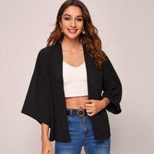 Schwarz Einfarbig Laessig Kimonos