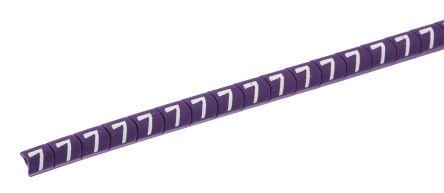 HellermannTyton Helagrip Slide On Cable Marker, Pre-printed 7 White on Violet 1 → 3mm Dia. Range