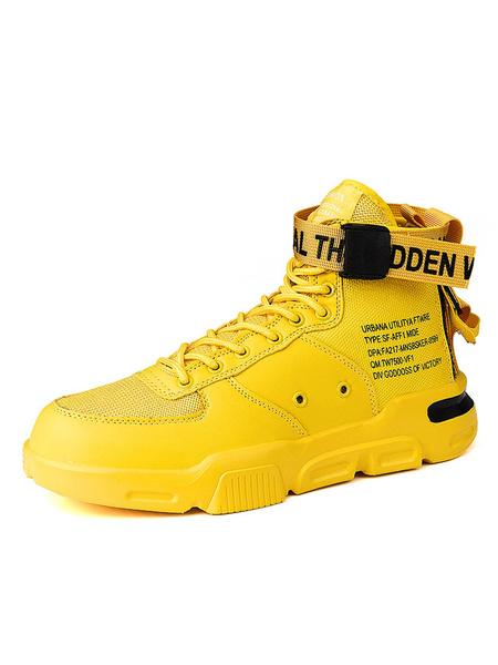 Milanoo Para hombre de las zapatillas de deporte del top del alto Deporte acogedor dedo del pie redondo del cordon para arriba los zapatos