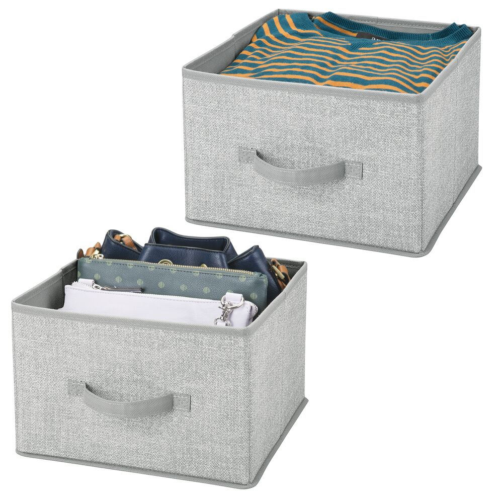 Collapsible Fabric Cube Storage Bin for Closet in Gray, 11