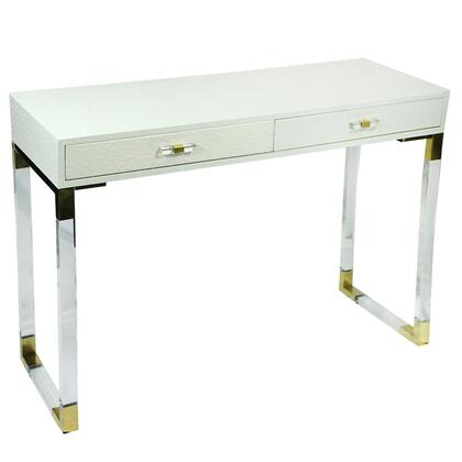 BM206798 2 Drawer Wooden Console Table with Acrylic Legs  White and