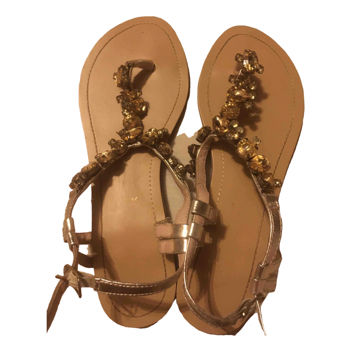 Non Signé / Unsigned \N Gold Leather Sandals for Women 38 IT