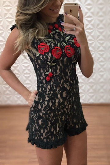 Yoins Black Lace Details Embroidery Playsuit with Sleeveless