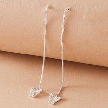 1 pieza pendientes largos con tira larga con diseño de mariposa grabada con diamante de imitacion