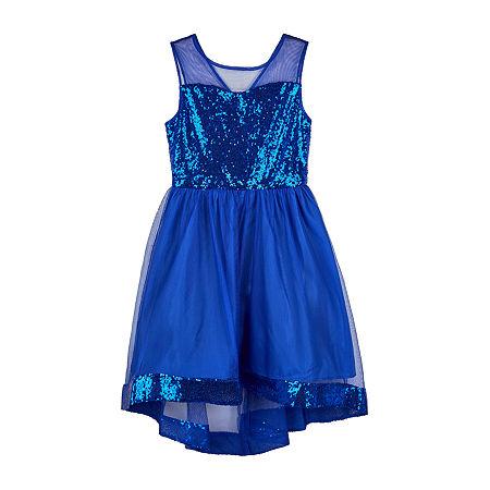 Amy Byer Big Girls Sleeveless High-Low Party Dress, 10 , Blue
