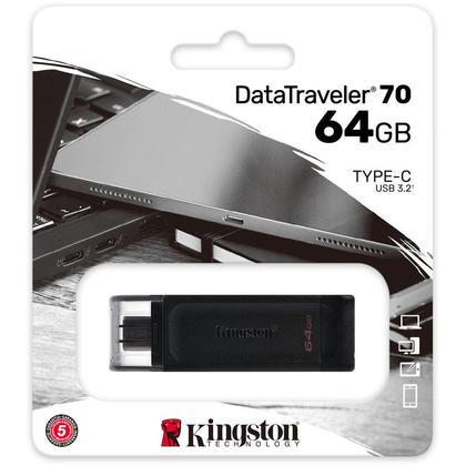 Kingston DataTraveler 70 USB-C Flash Drive 64 GB - USB 3.2 (Gen 1) Type C - Black