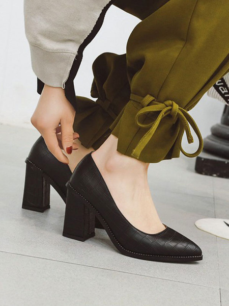 Milanoo Women High Heels Dark Red Pointed Toe Chunky Heel Pattern PU Slip-On Pumps