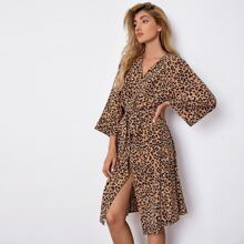 Leopard Print Belted Robe