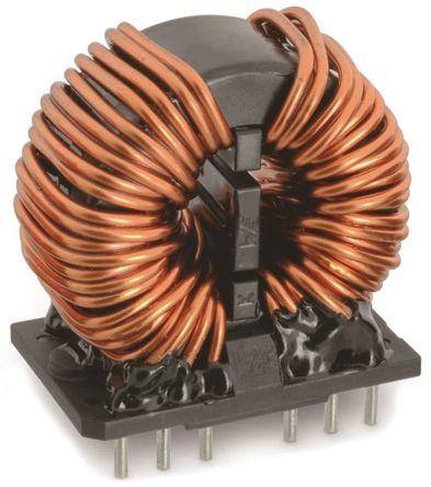Wurth Elektronik Wurth 2 x 20 mH -30 → +50% Nano Crystalline Common Mode Choke, Max SRF:1 kHz → 300 MHz, 6A Idc, 2 x 45mΩ