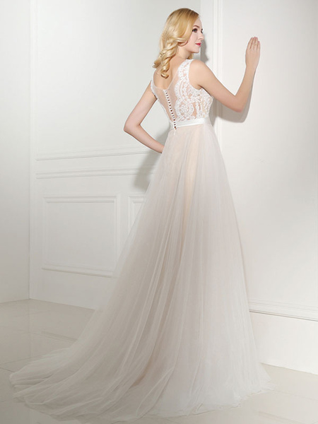 Milanoo Simple Wedding Dress Tulle Jewel Neck Sleeveless Pearls A Line Bridal Gowns