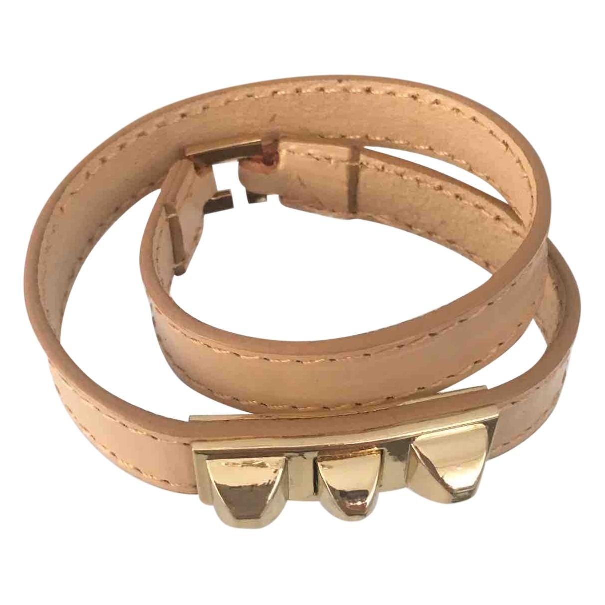 Massimo Dutti - Bracelet   pour femme en cuir - beige