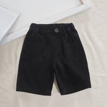 Shorts mit schraegen Taschen und Knopfen