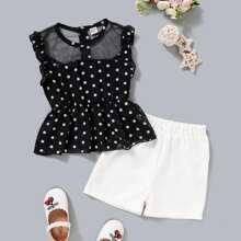 Camisa de niñitas peplum de lunares panel con malla con shorts