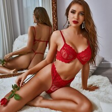 Embroidery Mesh Underwire Lingerie Set