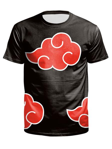 Milanoo Camisetas de hombre Top informal de manga corta estampada con cuello joya negro