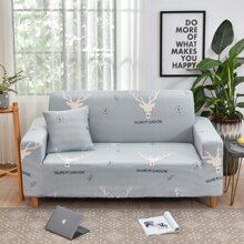 Elk Print Sofa Cover Without Cushion