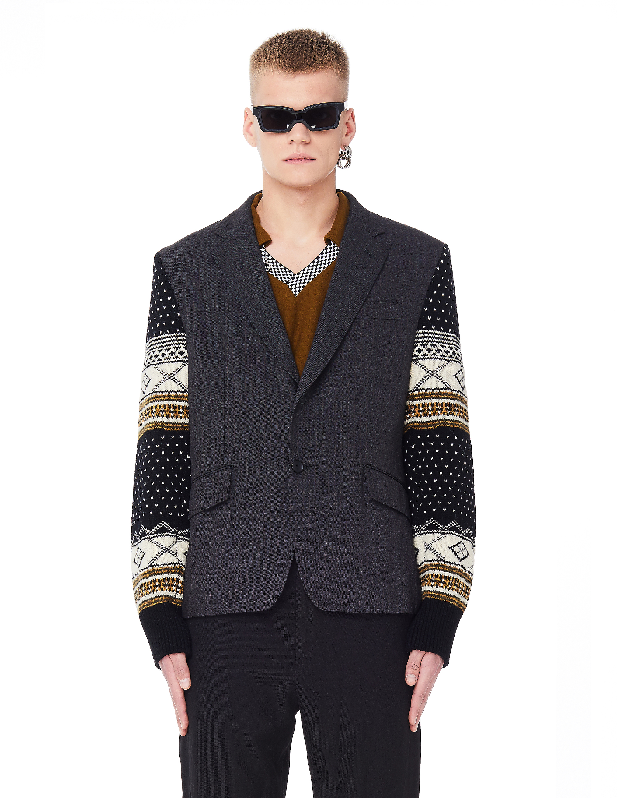 Junya Watanabe Grey Jacket With Knitted Sleeves