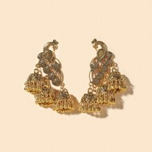Peacock Bell Round Ball Tassel Drop Jhumka Earrings