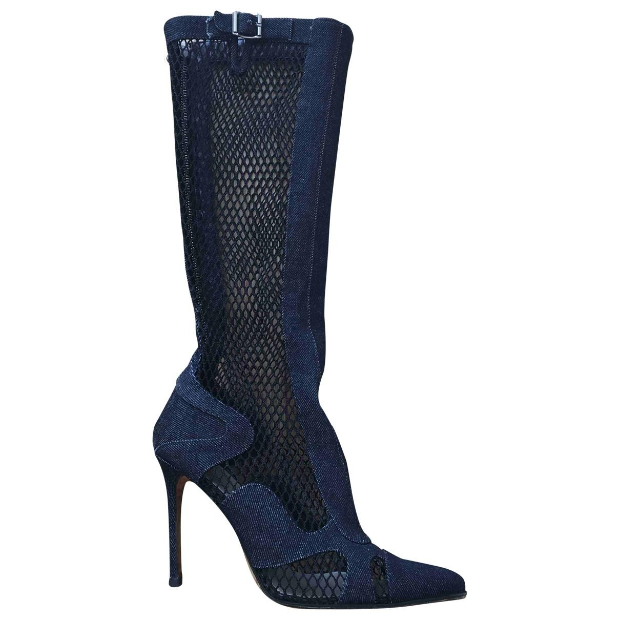 Christian Dior \N Stiefeletten in  Blau Leinen