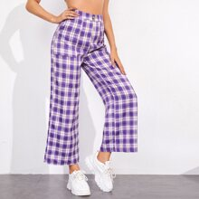 High Waist Slant Pocket Tartan Pants
