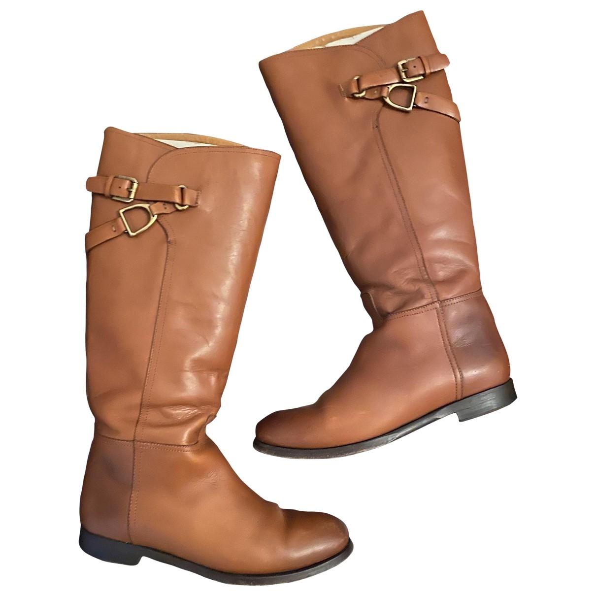 Ralph Lauren - Bottes   pour femme en cuir - marron