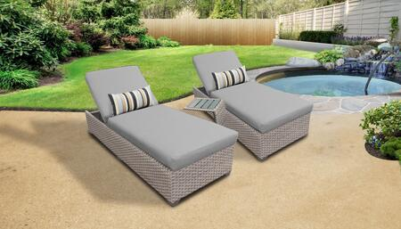 Florence Collection FLORENCE-2x-ST-GREY Patio Set with 2 Chaises   1 Side Table - 2 Sets of Grey