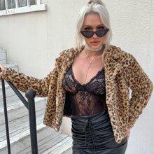 Eilly Bazar Open Front Leopard Faux Fur Coat
