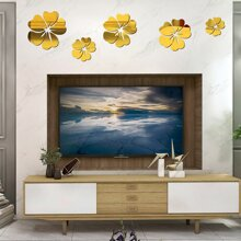 5 Stuecke Blumenspiegel Oberflaeche Wandaufkleber