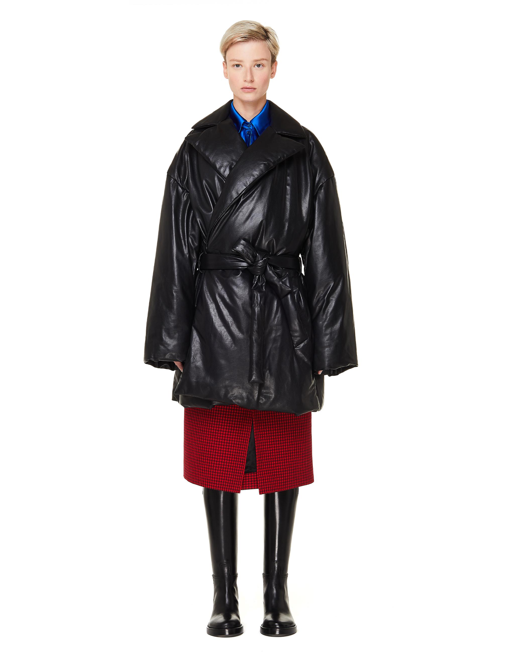 Balenciaga Black Leather Padded Wrap Coat