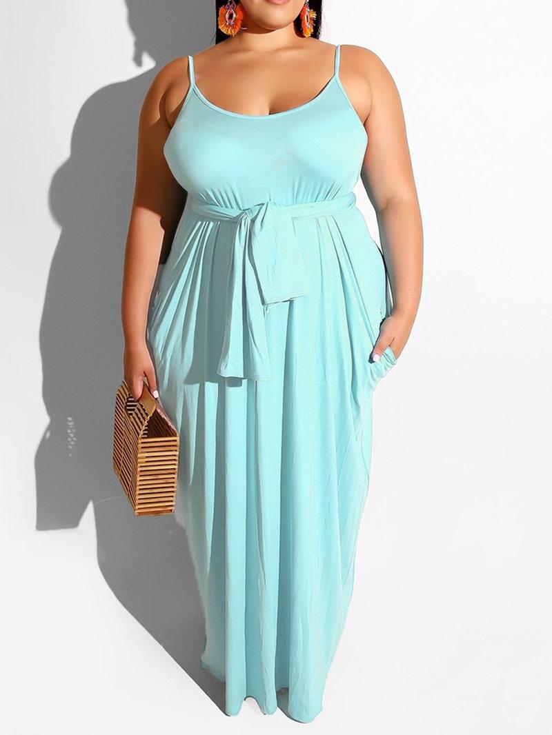 Ericdress Plus Size Pocket Sleeveless Floor-Length Casual Dress