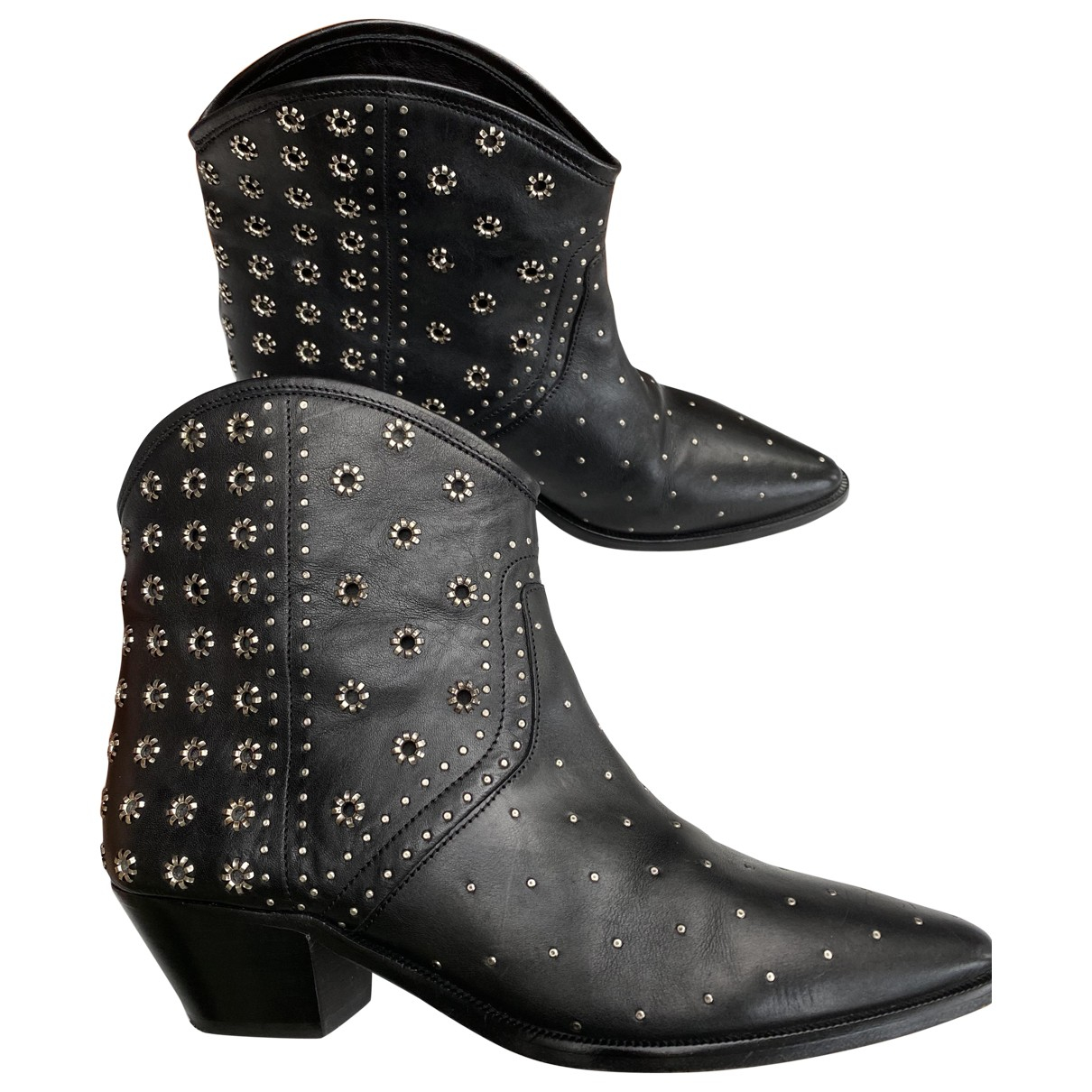 Isabel Marant \N Black Leather Ankle boots for Women 40 EU
