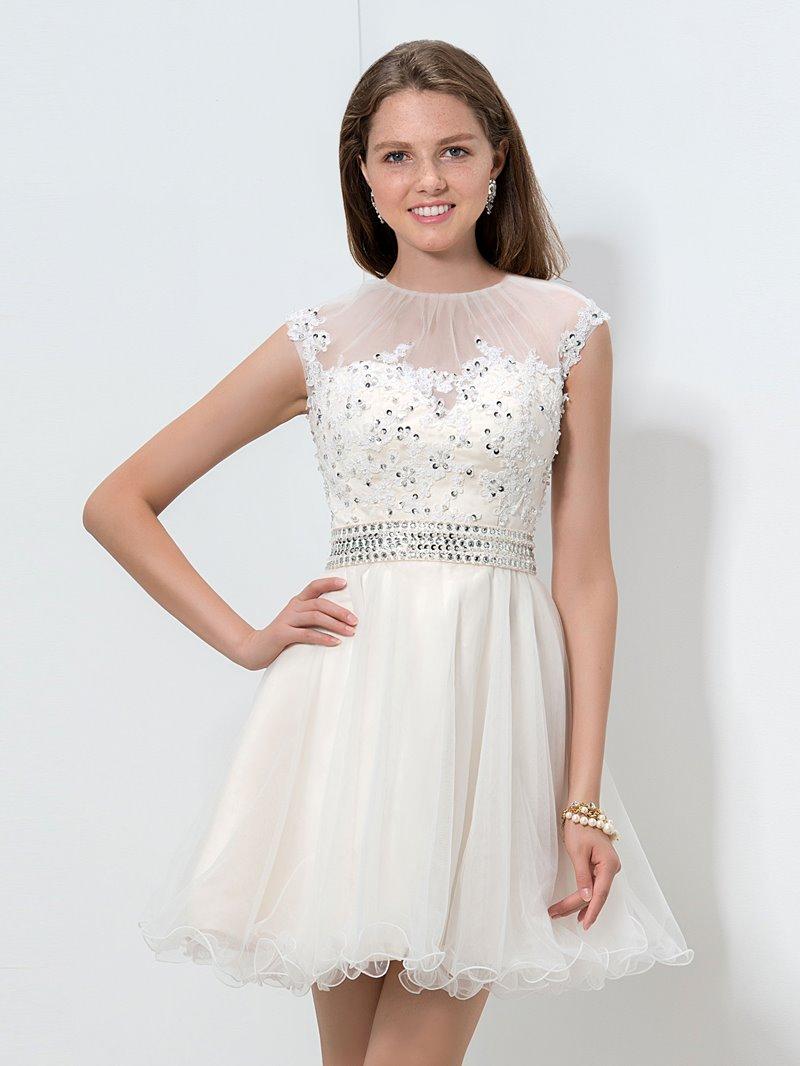 Ericdress Jewel Neck Appliques Sequins Ruffles Homecoming Dress
