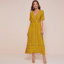 Aztec Print Surplice Front Dress