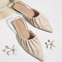Ruched Point Toe Slingback Flats